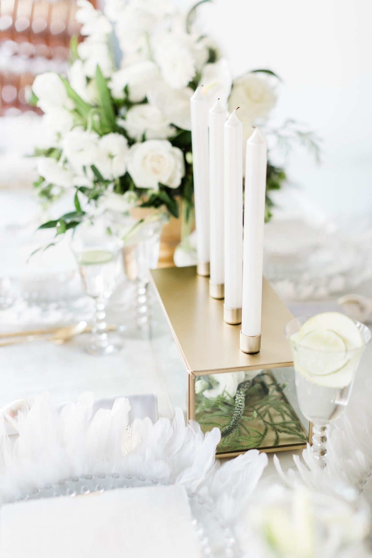 White and Gold Wedding Centerpiece