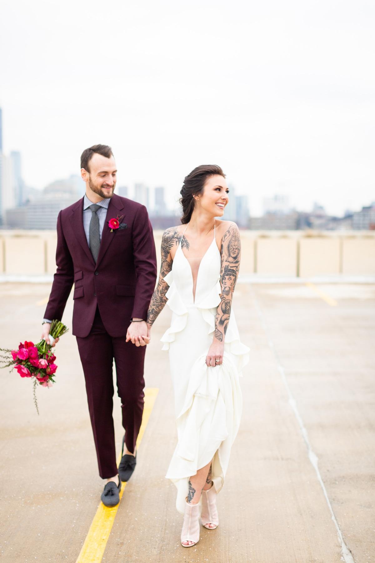 Edgy Romance Chicago Wedding Inspiration Alexandra Lee Photography Lakeshore in Love 324