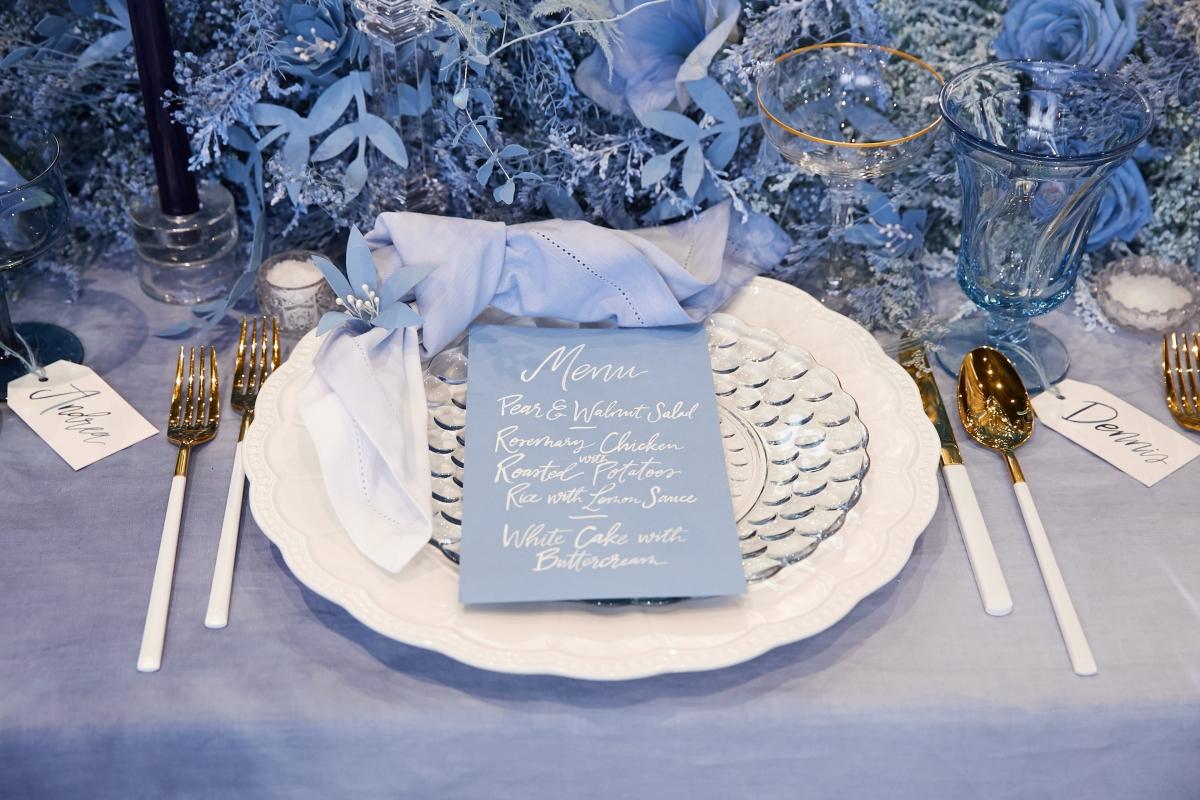 Ombre Blue Chicago Loft Wedding Inspiration 18