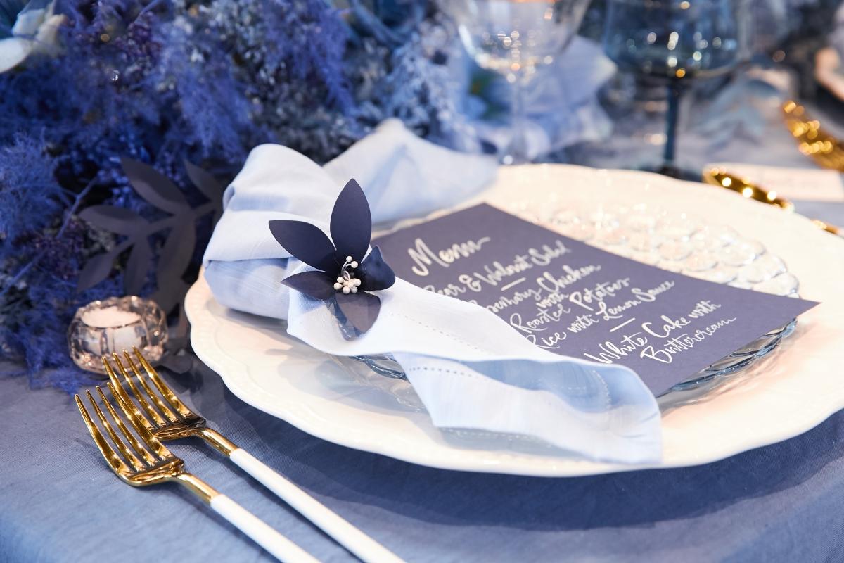 Ombre Blue Chicago Loft Wedding Inspiration 24