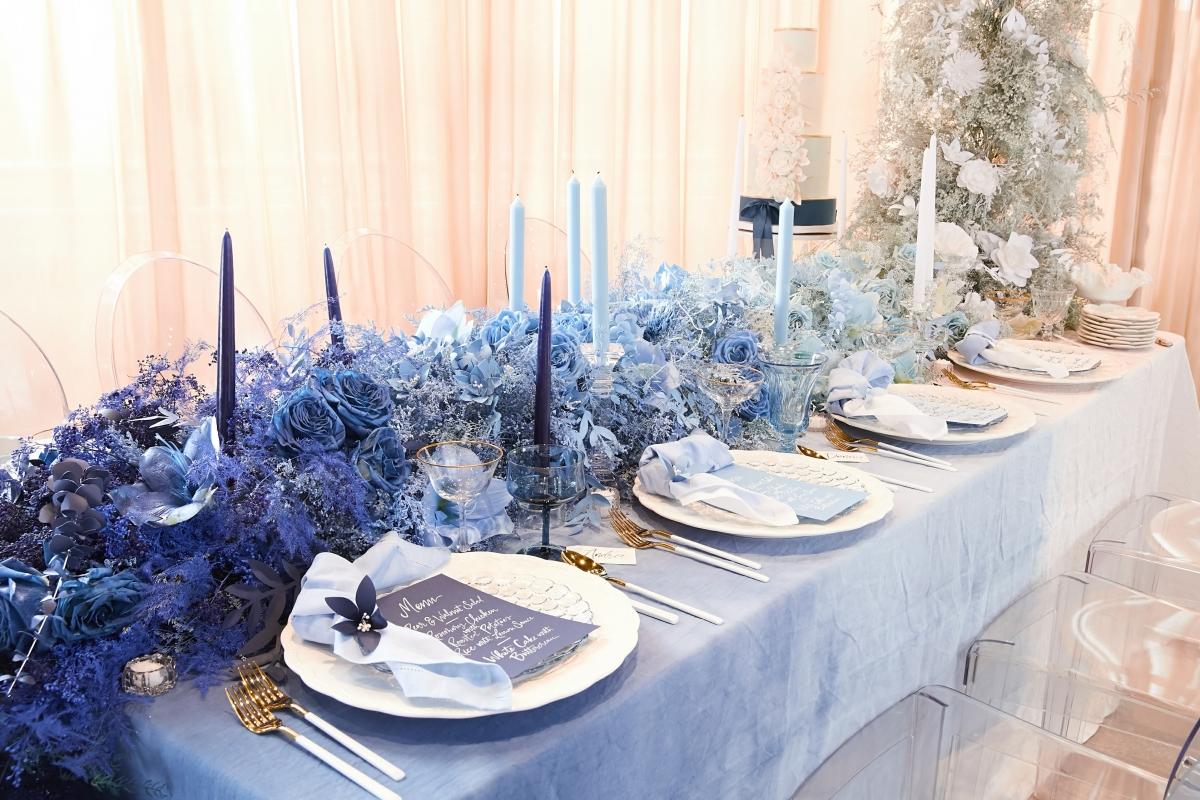 Ombre Blue Chicago Loft Wedding Inspiration 3