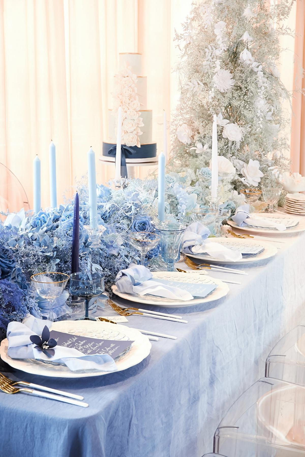 Ombre Blue Chicago Loft Wedding Inspiration 4