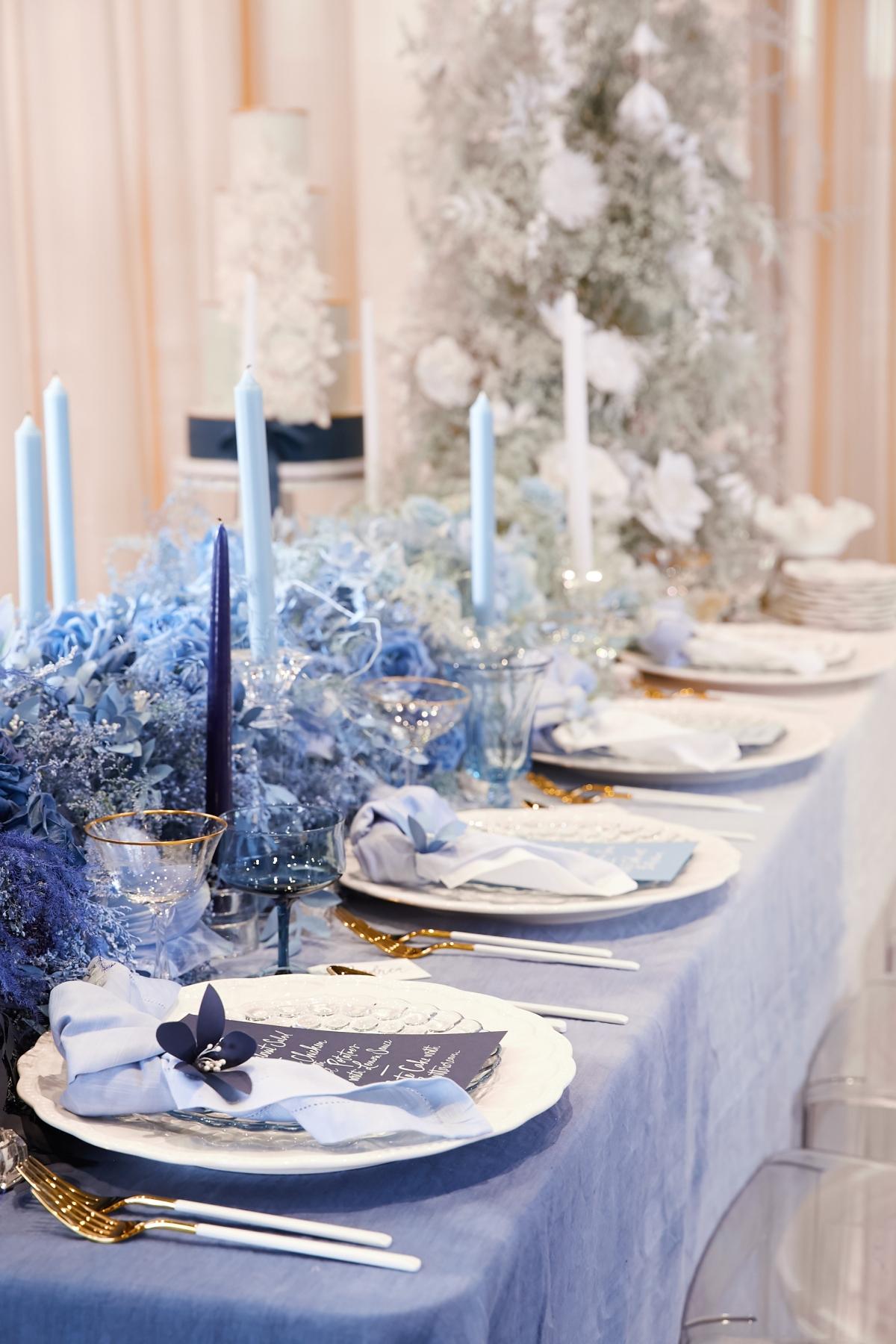 Ombre Blue Chicago Loft Wedding Inspiration 9