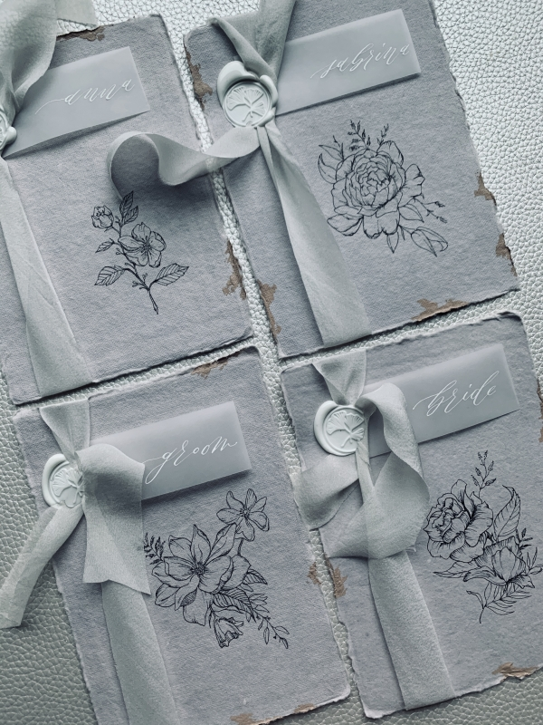 handmade paper place cards with vellum