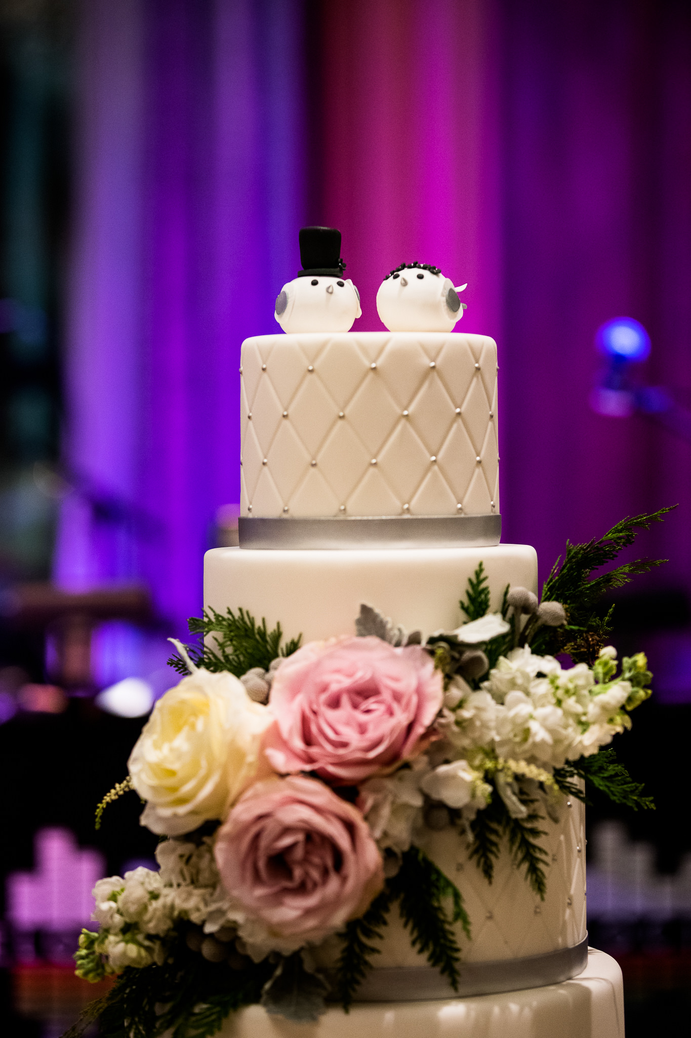 Gorgeous Wedding Cake with Two Birds Cake Topper