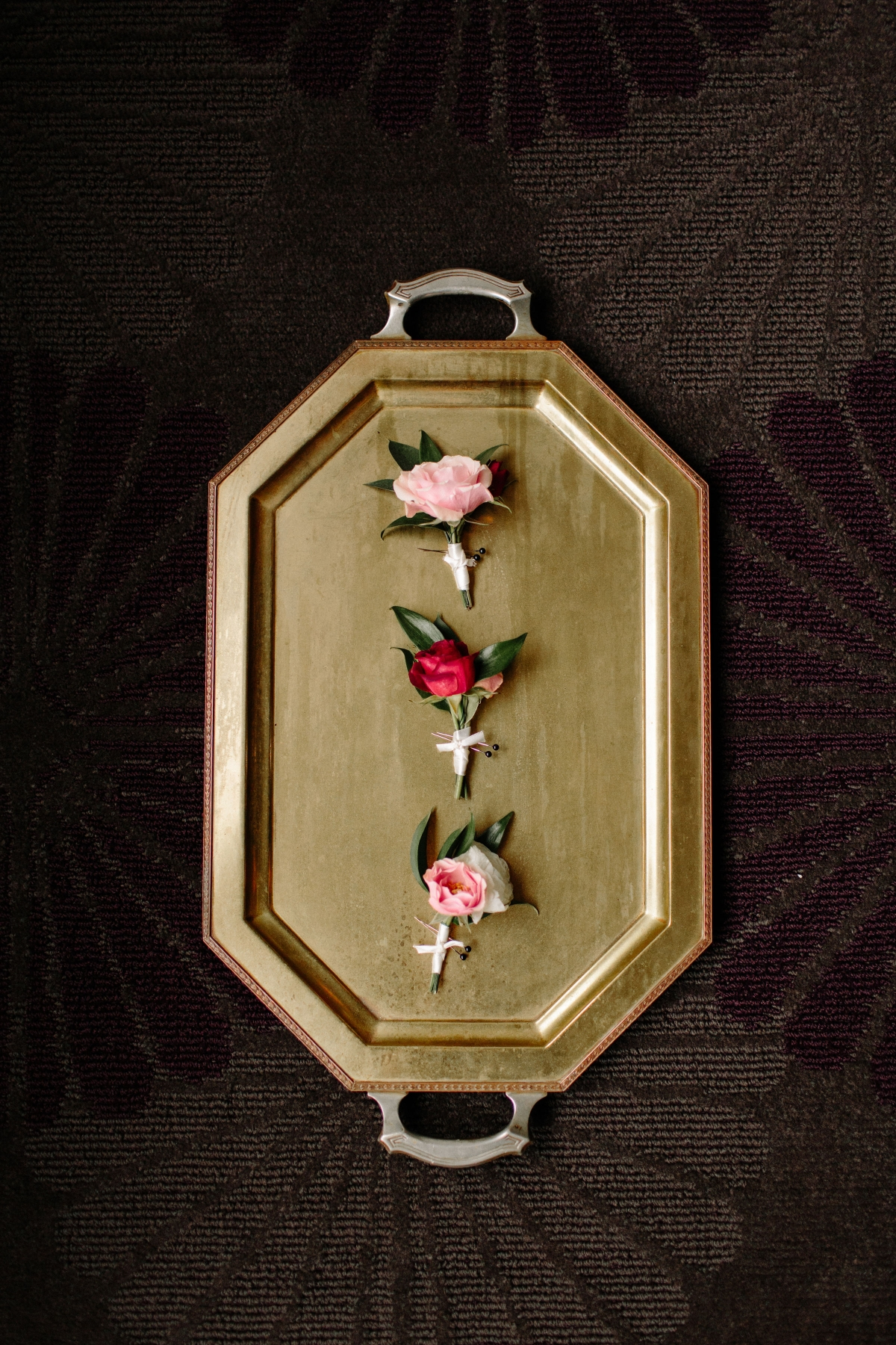 Boutonnieres on Gold Tray