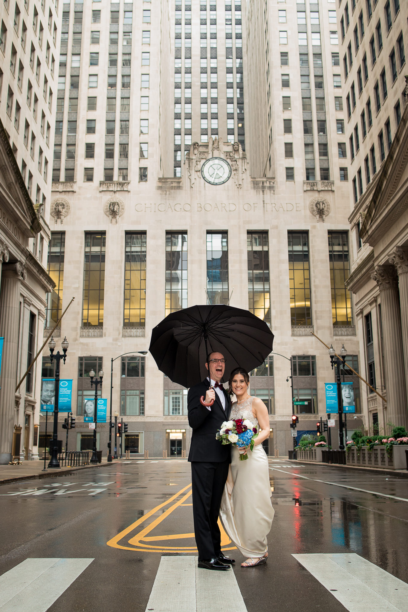 Raining in Front of the Chicago Board of Trade Building