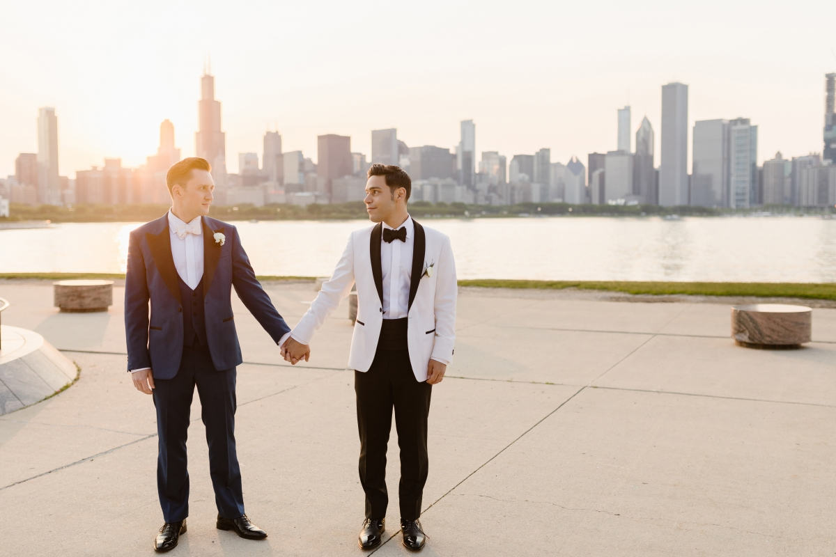 Chicago Adler Planetarium Wedding with Two Grooms