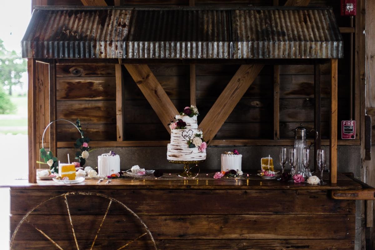 Rustic Wedding Sweet Table in Barn
