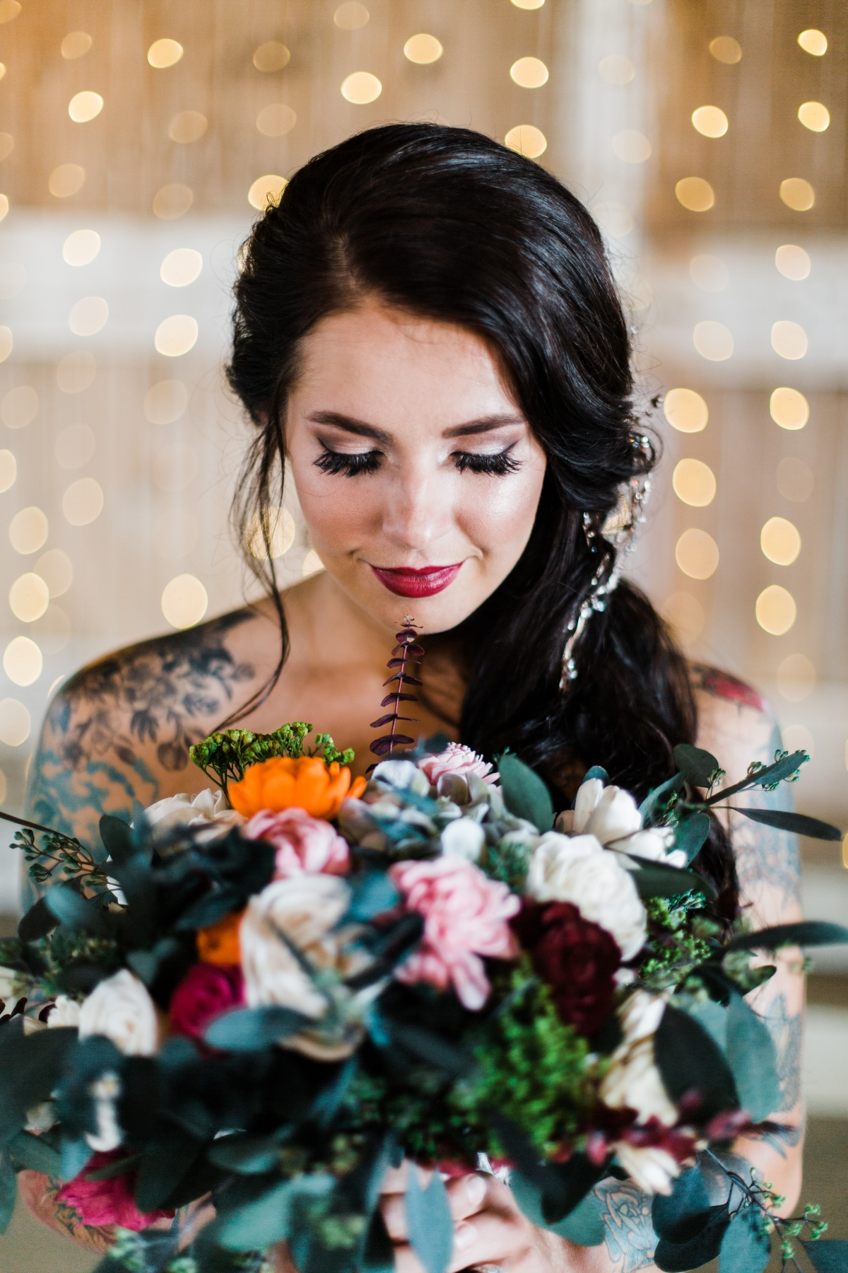 Bride with Tattoos and Colorful Bouquet