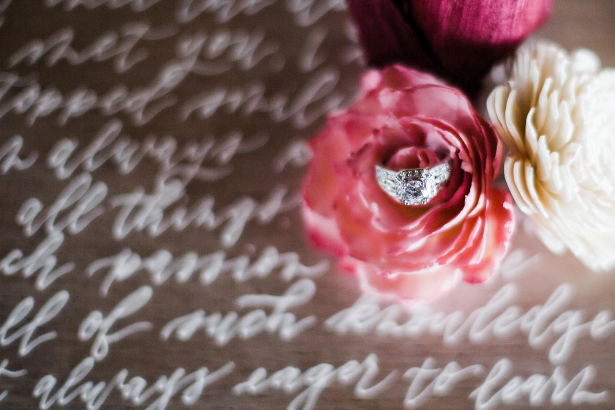 Wedding Rings on Calligraphy