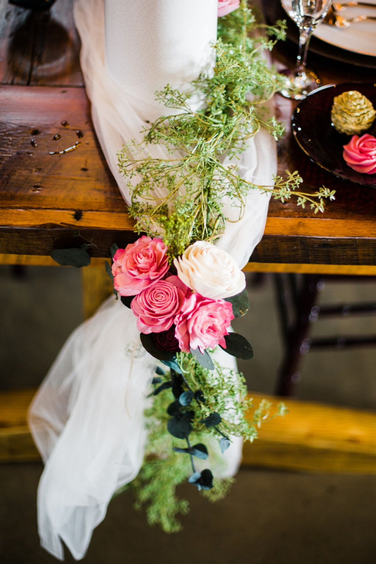 Wedding Table Runner with Flowers