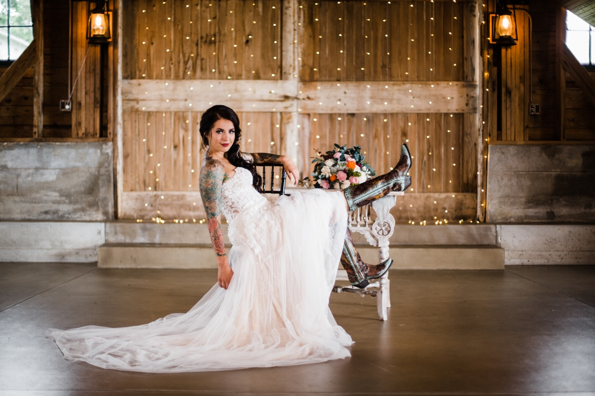 bride and her boots