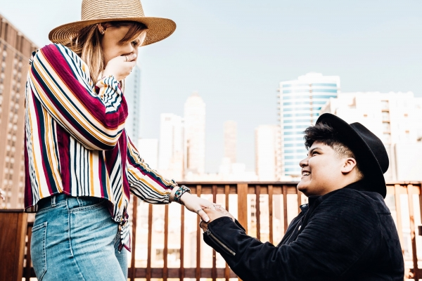 Surprise Proposal Chicago Rooftop Two Brides