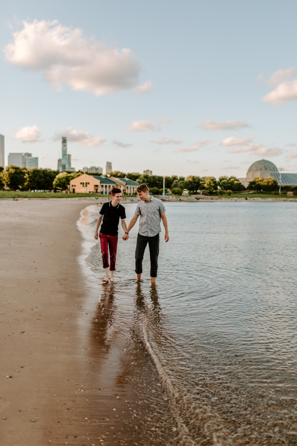 Chicago Northerly Island Beach LGBT Couple Shoot