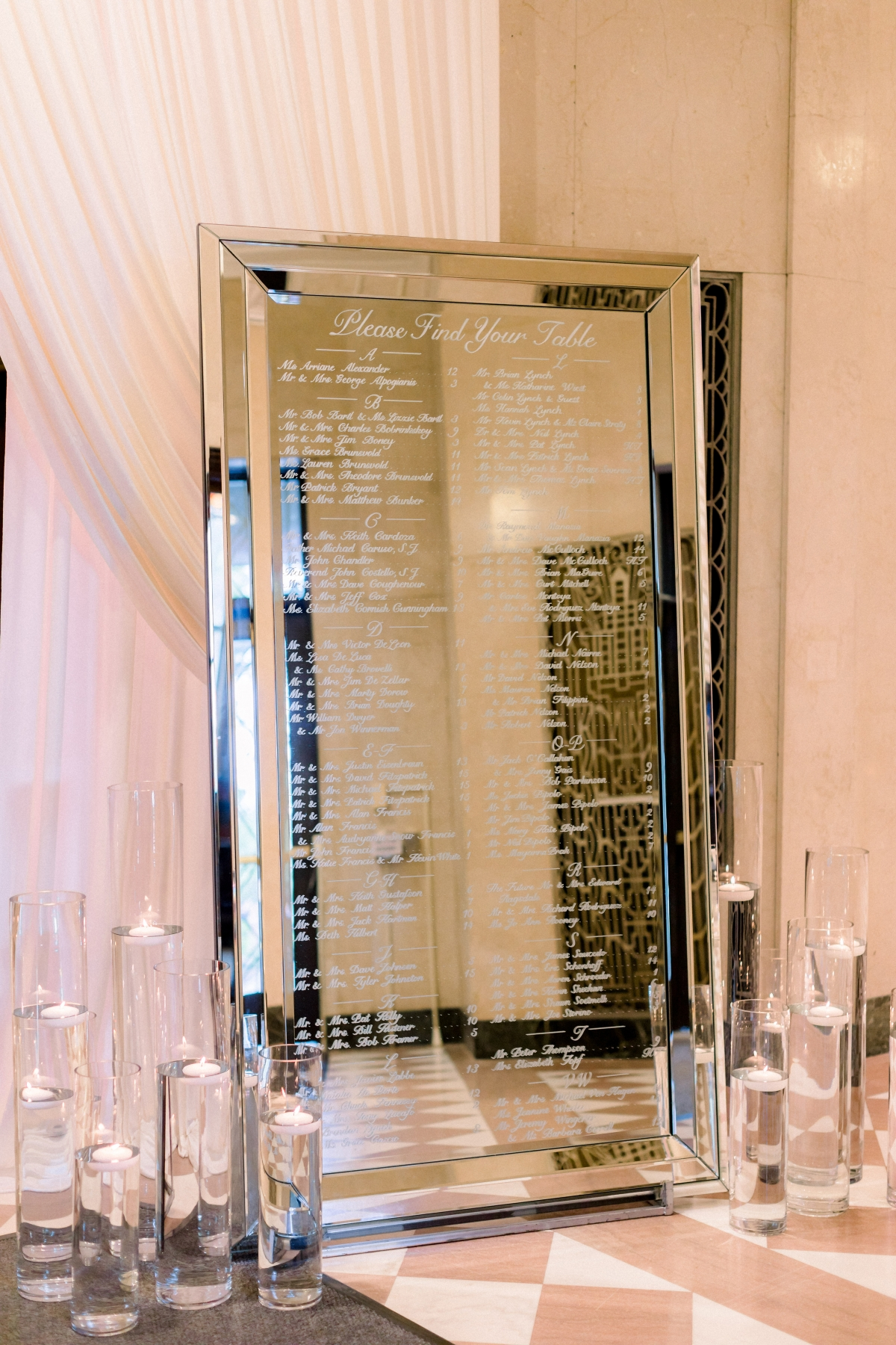 Mirror Seating Chart for WeddingElegant Black Tie Wedding Loyola University Chicago Tiffaney Childs
