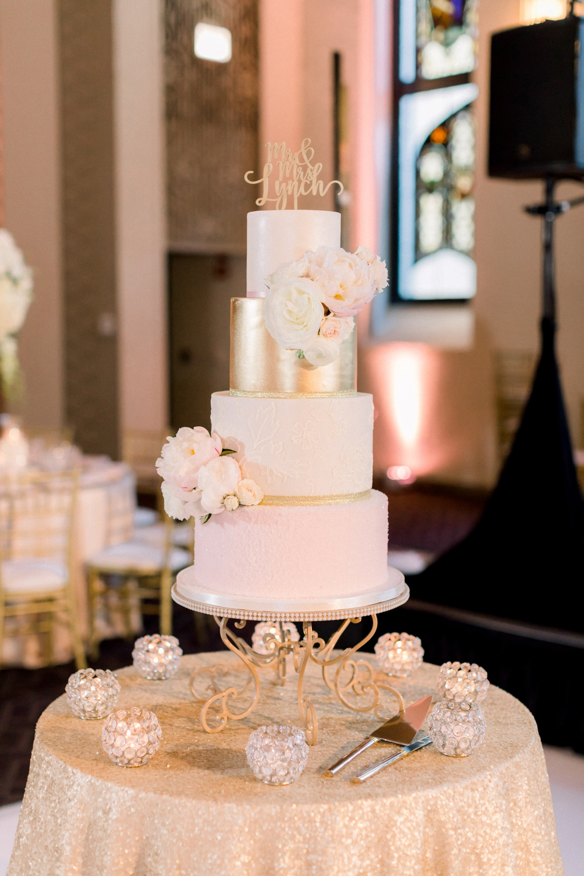 Blush and Gold Wedding Cake Amy Beck