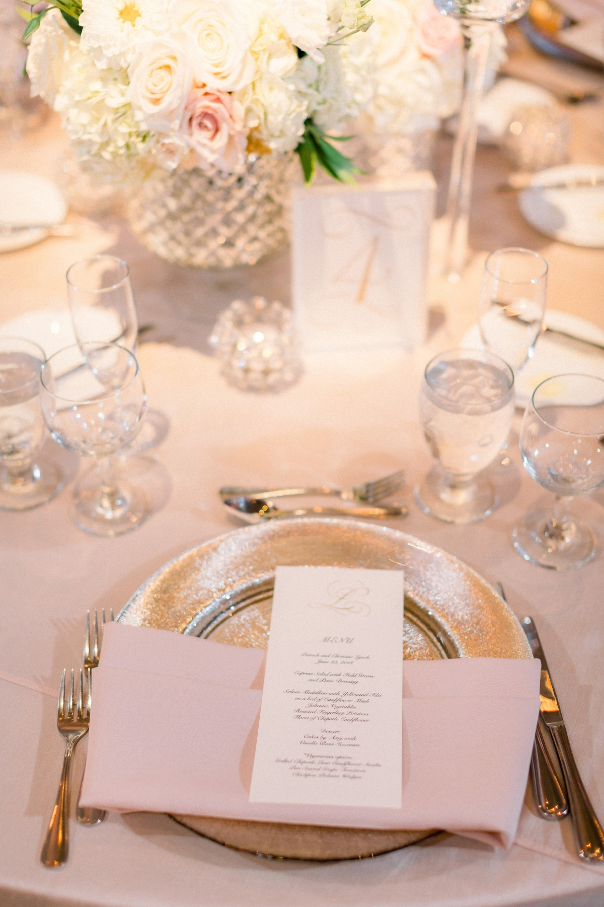 Blush and Silver Wedding Reception Chicago