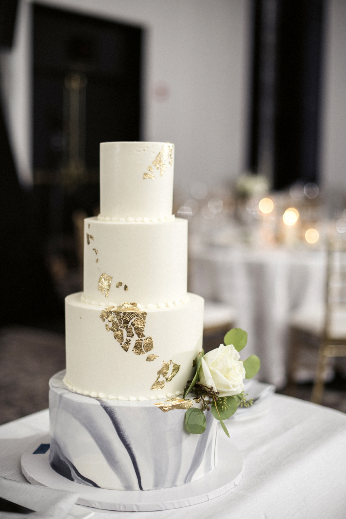 Modern Wedding Cake with Marble and Gold Leaf