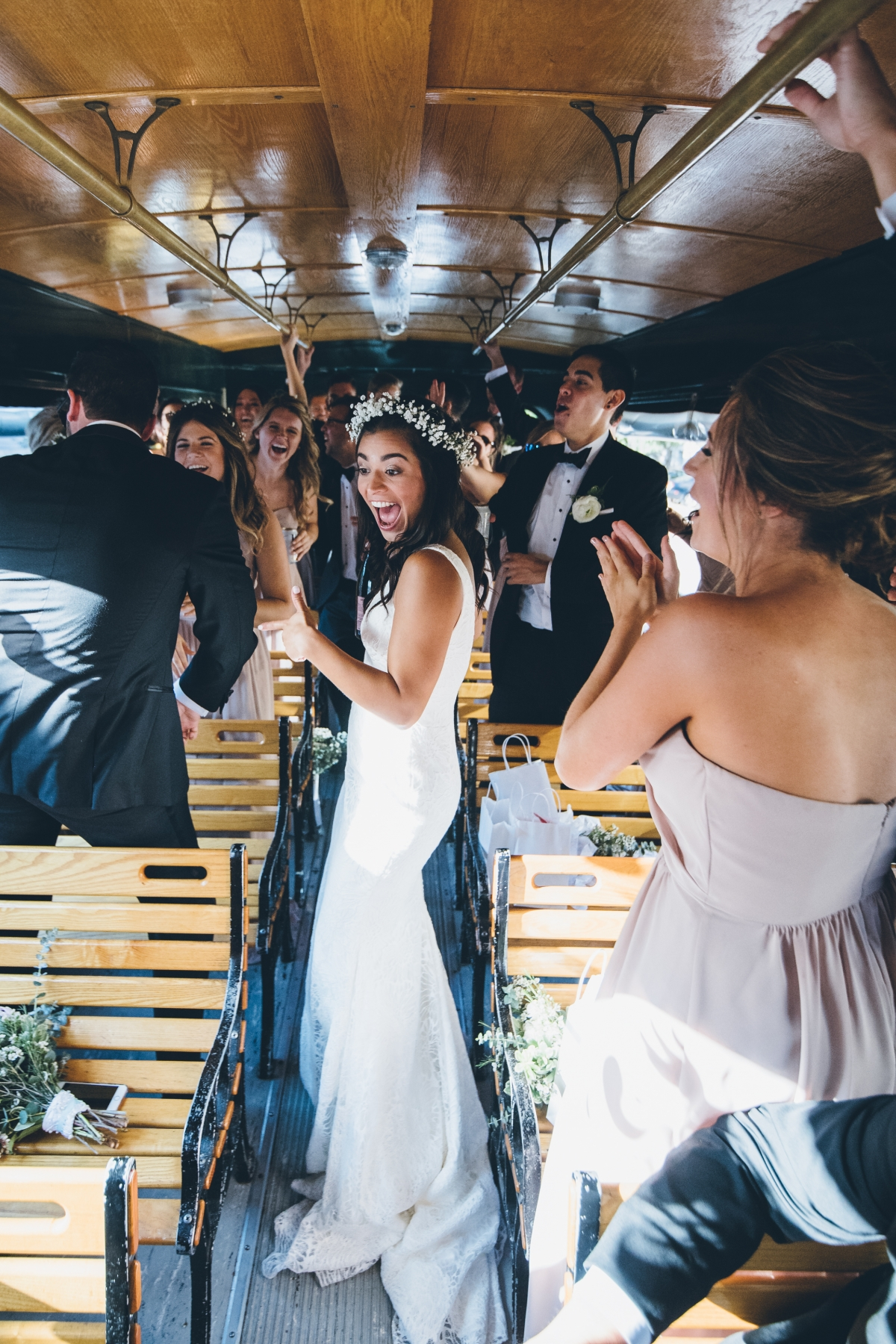 Bridal Party on Chicago Trolley