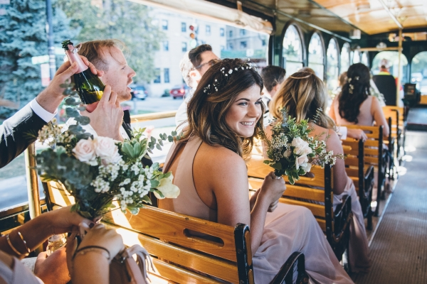 Wedding Party on Chicago Trolley