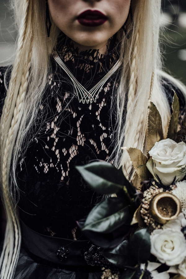 Wiccan Bride in Black Dress