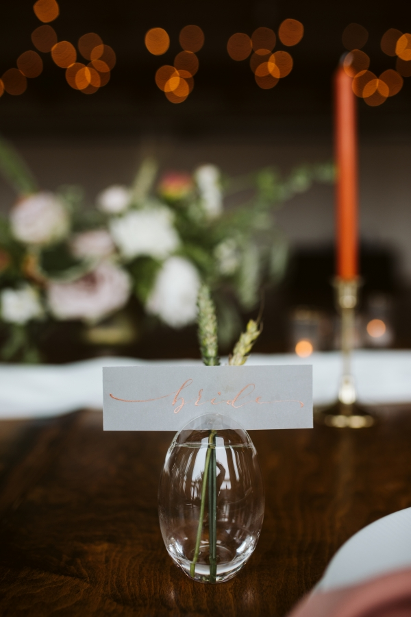 Bud Vase with Calligraphy Place Card