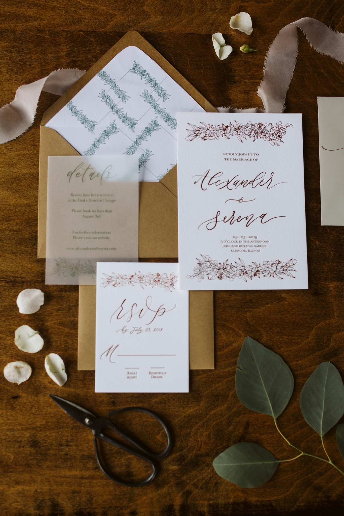 Mustard and Khaki Wedding Invitations