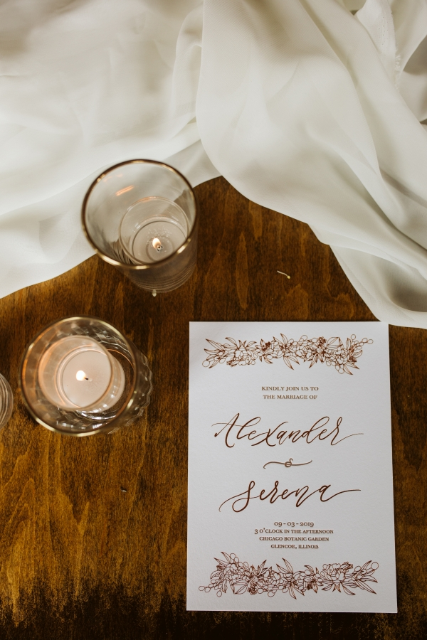 Votive Candles and Bronze Wedding Stationery