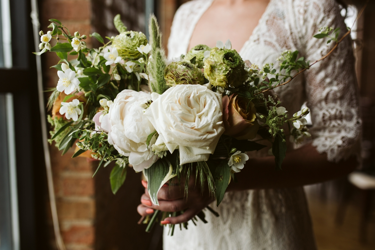 Ivory Mustard Green Bride Bouquet