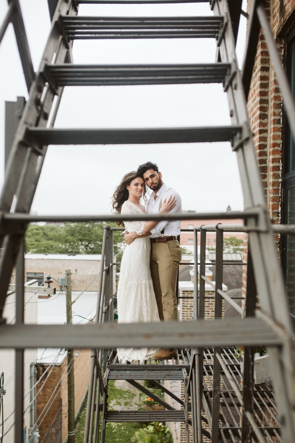 Chicago Industrial Wedding Inspiration City View Loft