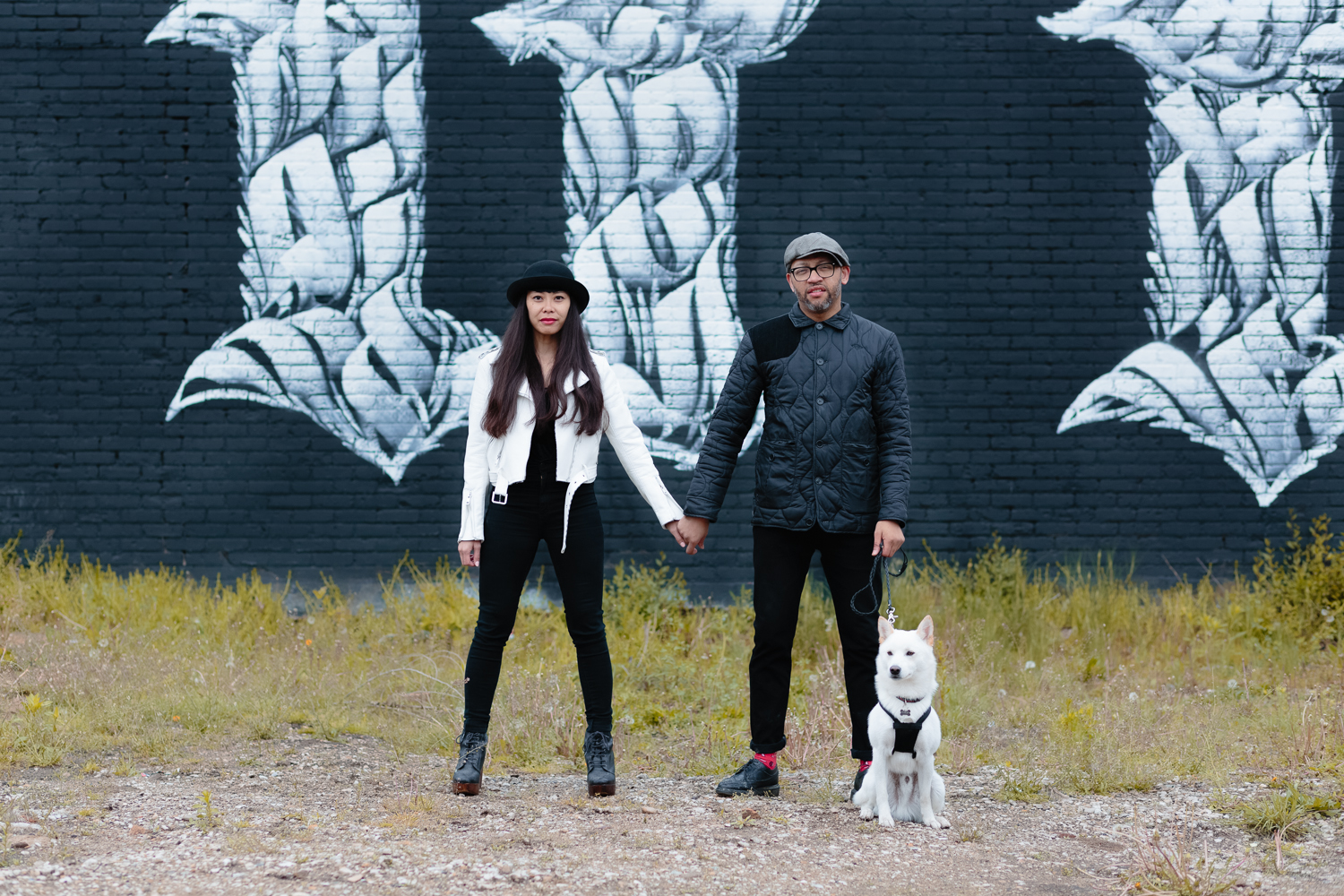 Black and White Engagement Shoot in Humboldt Park with Hiro the Dog
