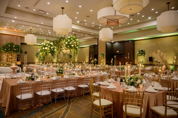 Gold and Green Wedding Reception Yanni Design Studio