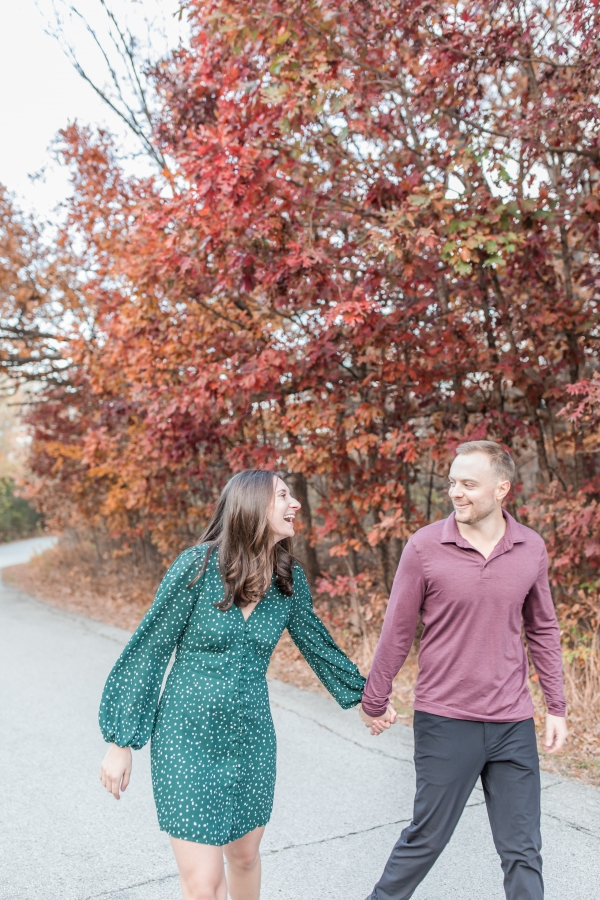 Lindsey and Jordan Engagement Session at Hickory Creek Preserve, Mokena, Illinois by Bridgette Benson Photography photographed by Bridgette Ferreira