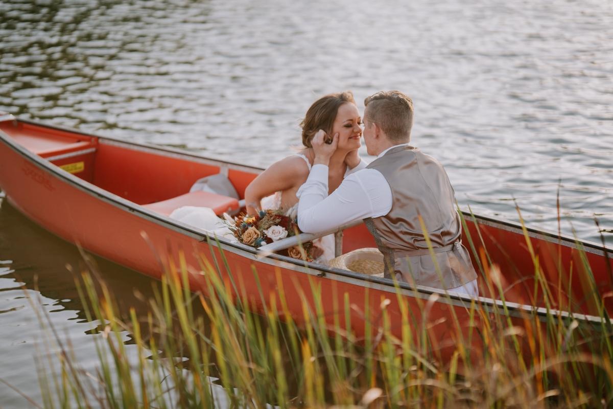 Millennium Moments Chicago Wedding Photographer Camp Aramoni Tonica Illinois boat young couple
