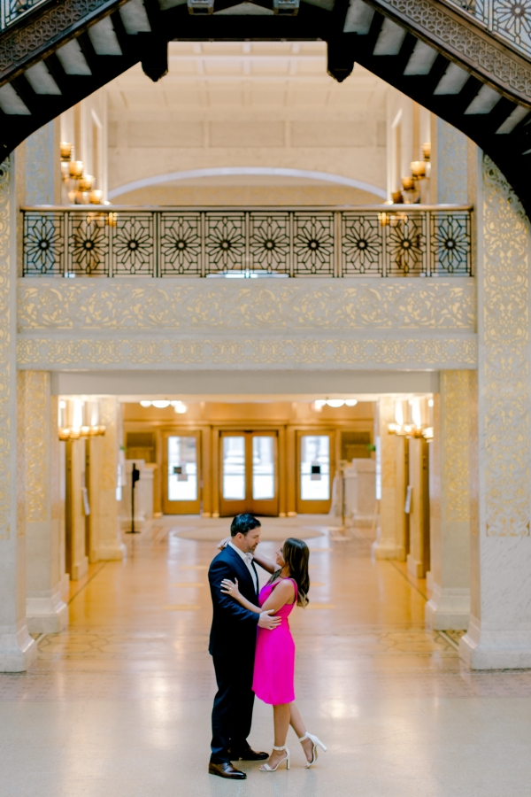 Downtown Chicago Engagement Session at The Rookery Building and Chicago Board of Trade